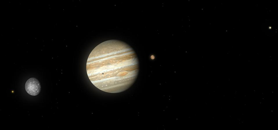 Artwork of Jupiter and its largest four (Galilean) moons Io, Callisto, Ganymede and Europa.