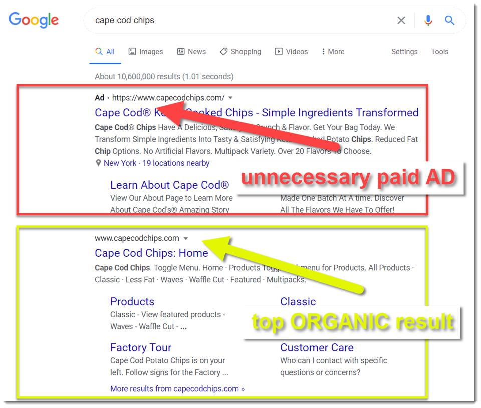 Augustine Fou - don't pay for your branded keywords if you already rank highly in organic search