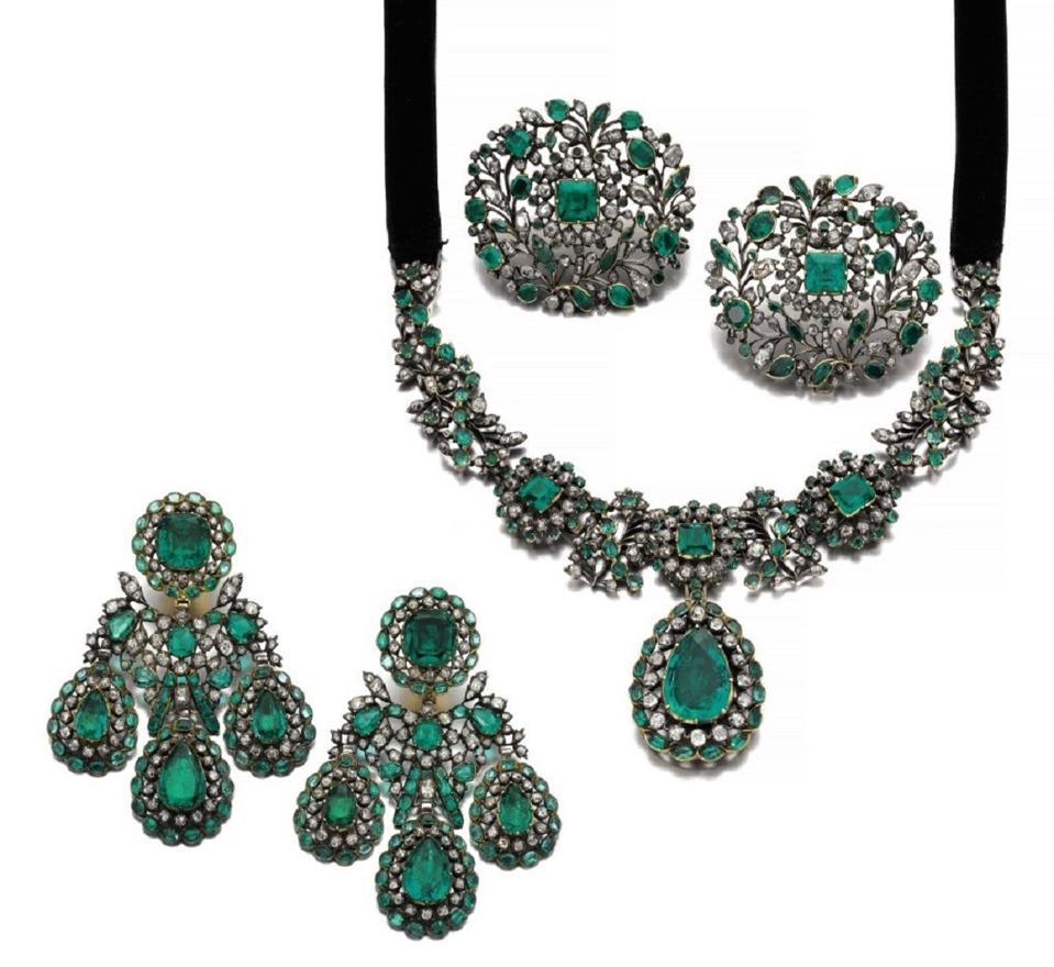 Colombian emerald and diamond parure, circa 1770, formerly owned by the Marques de Guirior