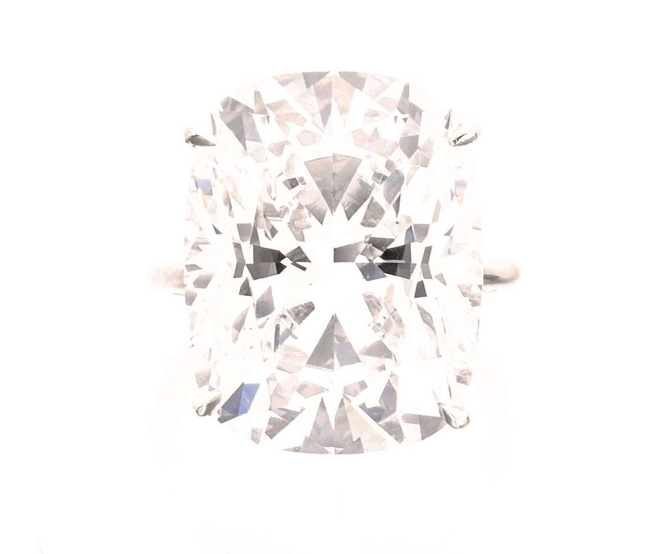 An 18.03-carat D-color, flawless cushion-shaped diamond fetched $1.9 million