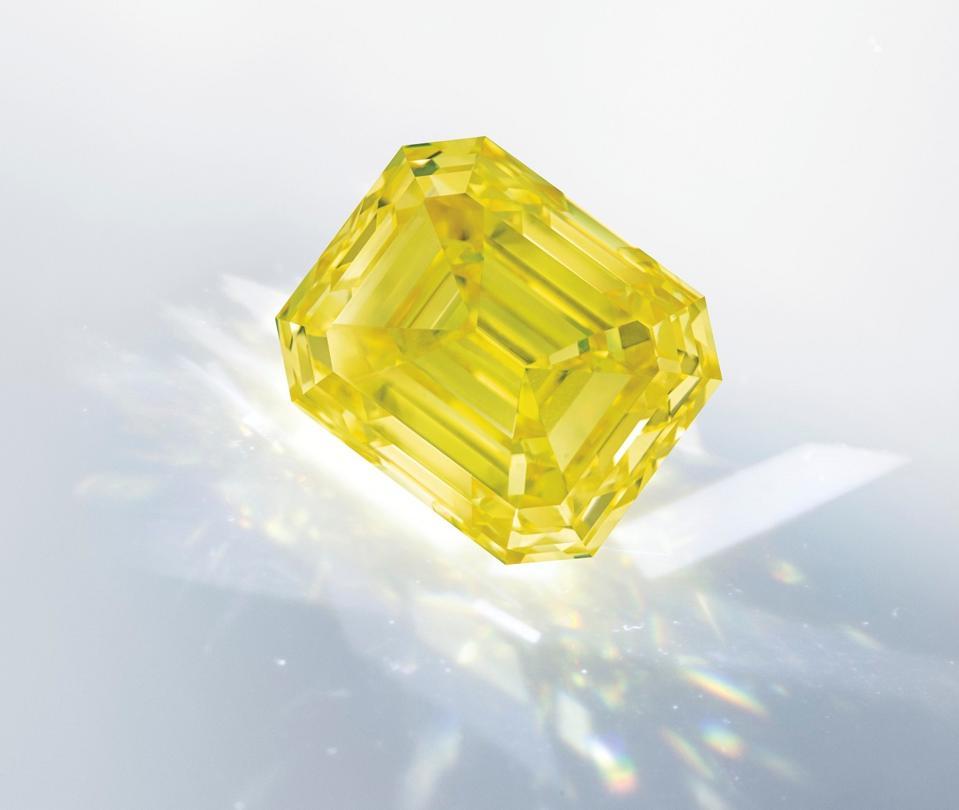 This 28.88-carat, VVS2, fancy vivid yellow diamond fetched $3.1 million at Christie's