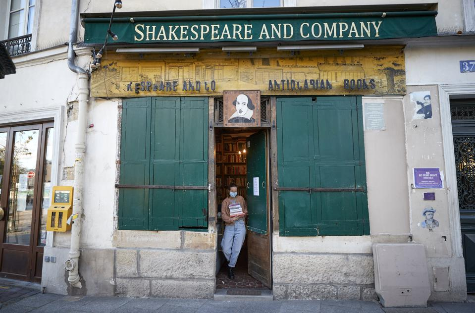 Shakespeare and Company bookshop in Paris, which is appealing for orders to stay afloat in the new lockdown