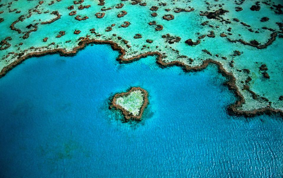 Ocean health is critical to billions of people around the world.  Seen here: heart shaped reef in the Great Barrier Reef, Australia.