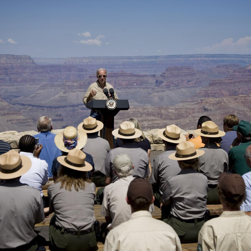 Vice President Joe Biden delivers a speech at the Grand Canyon.