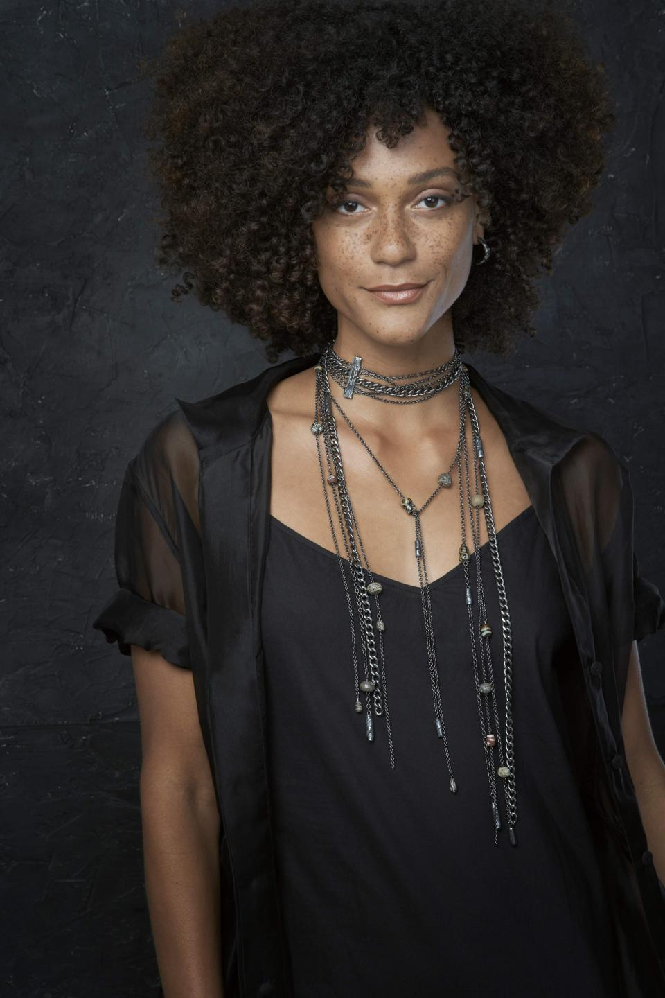 Sterling silver unisex lariat necklace by stôn designed by Latondra Newton