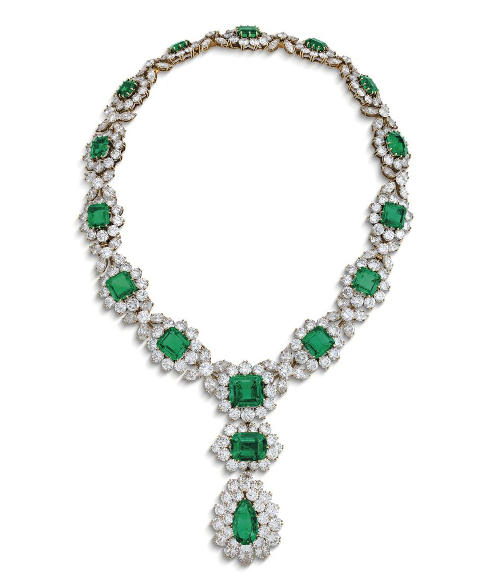 An emerald and diamond necklace by Bulgari sold for $1.9 million at Christie's Geneva