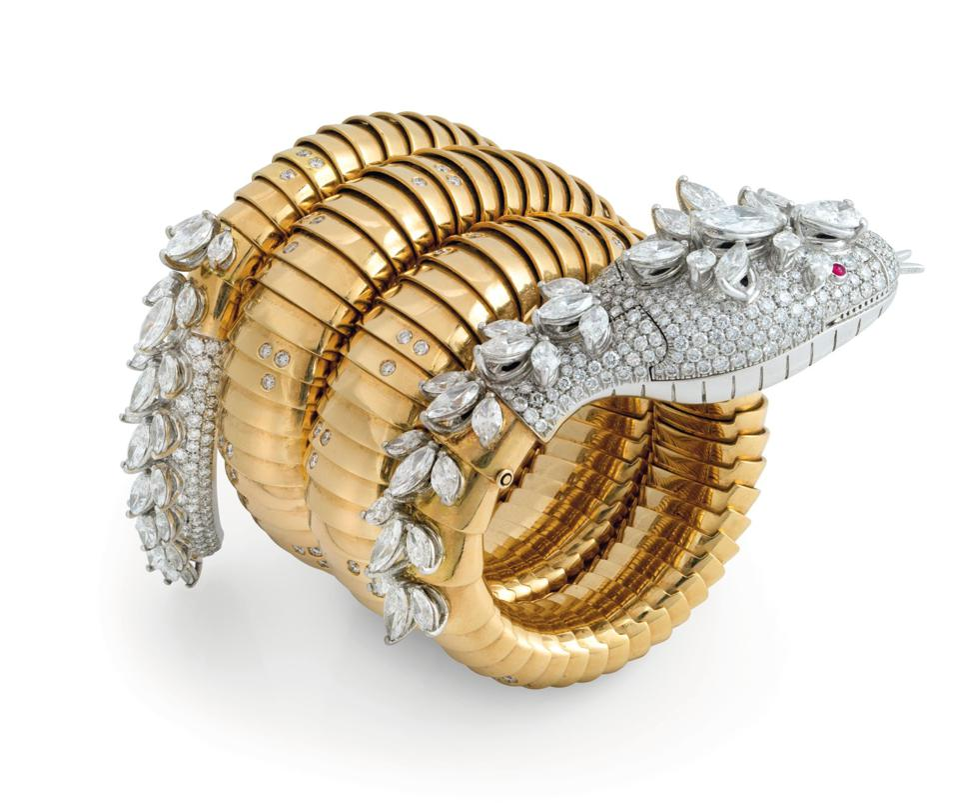 "Gold ""Serpernti"" bracelet-watch by Bulgari, 1960s, fetched $273,177 at Christie's Geneva"