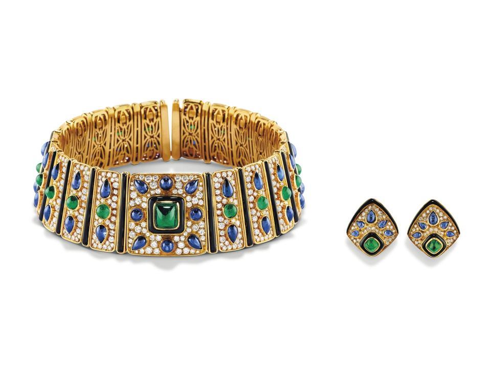 Marina B diamond, sapphire, emerald, onyx and gold choker, earrings set fetched $109,271