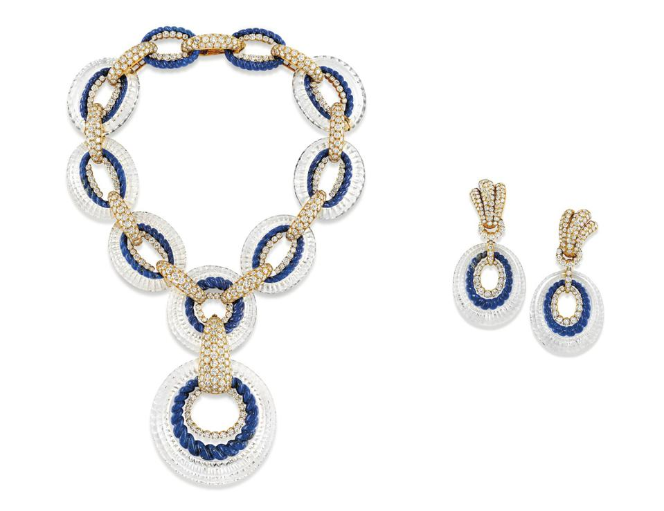 M. Gérard diamond, rock crystal and lapis lazuli necklace and earrings fetched $88,782