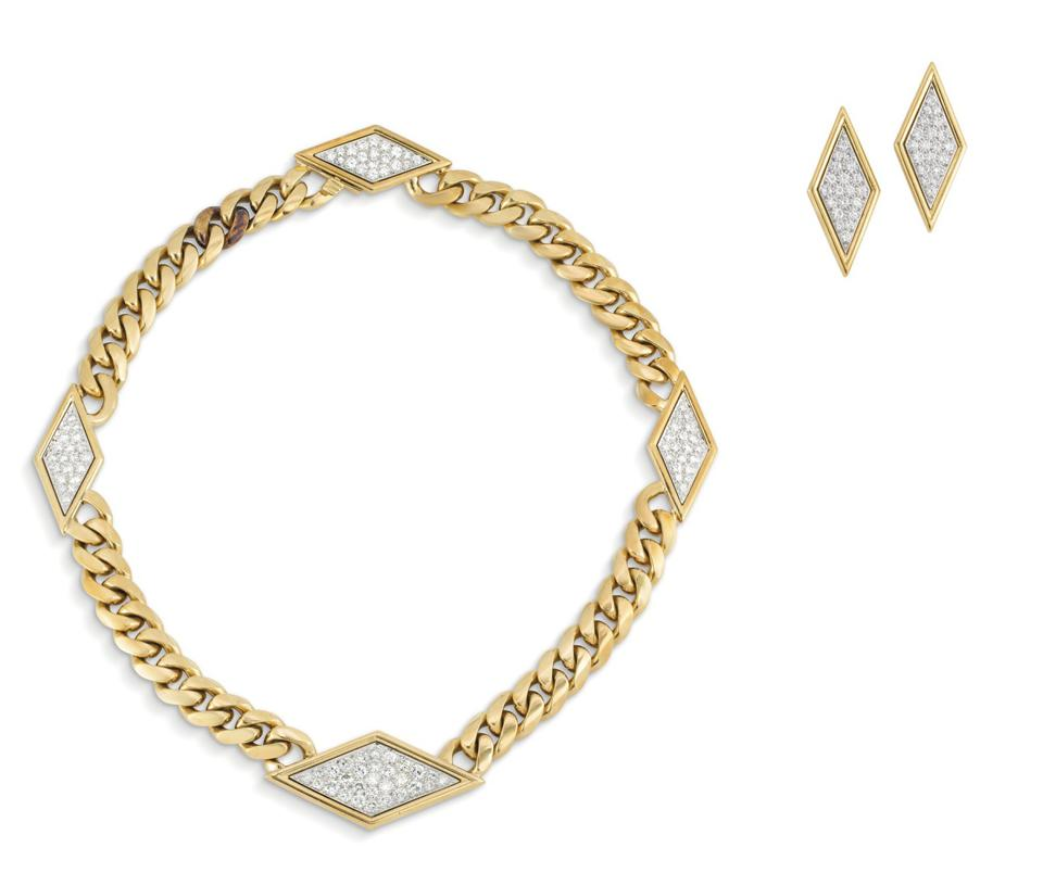David Webb gold and diamond necklace and earrings set fetched $17,756 at Christie's Geneva