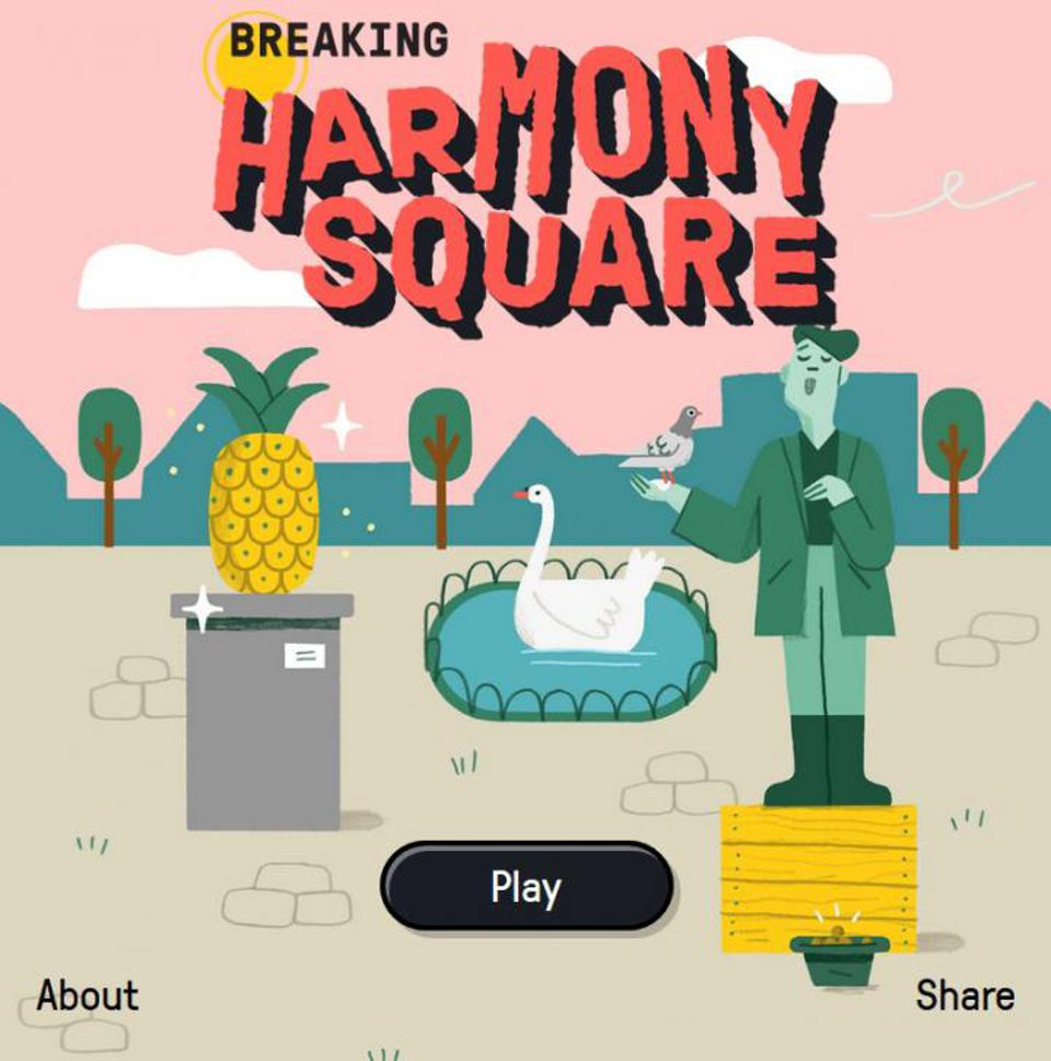 Title screen of the video game Harmony Square