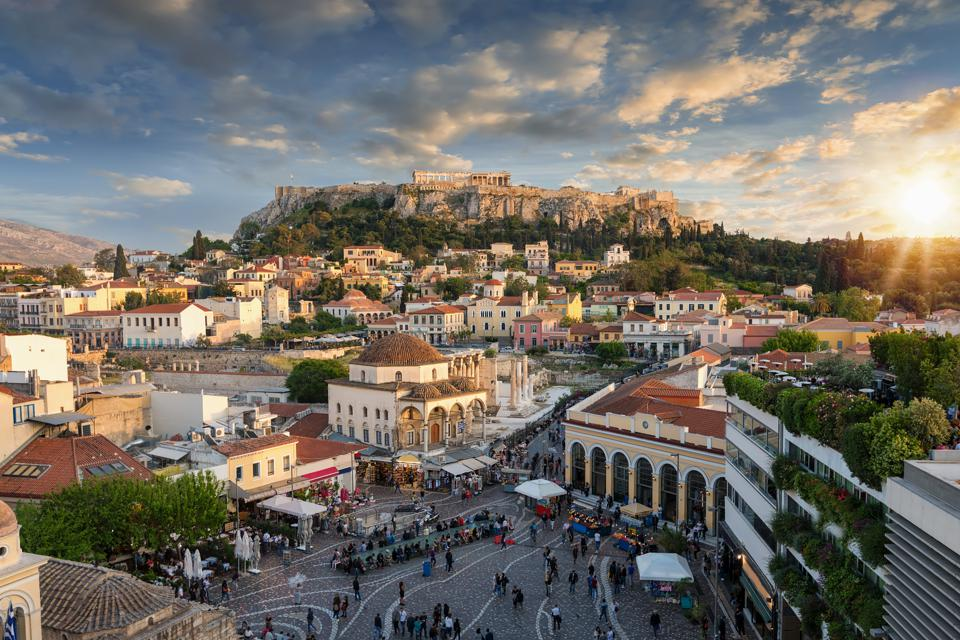 Best Places To Live In Europe; Sunset over the  old town of Athens, Greece