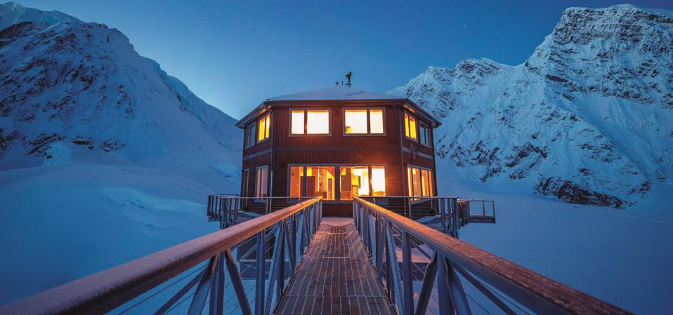 A photo of the Sheldon Chalet on Denali, the tallest mountain in North America.