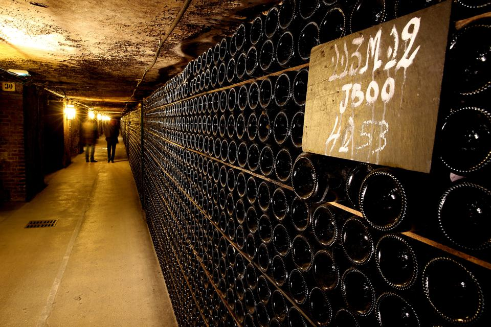 Champagne bottles stored in the Moet & Chandon cellars,