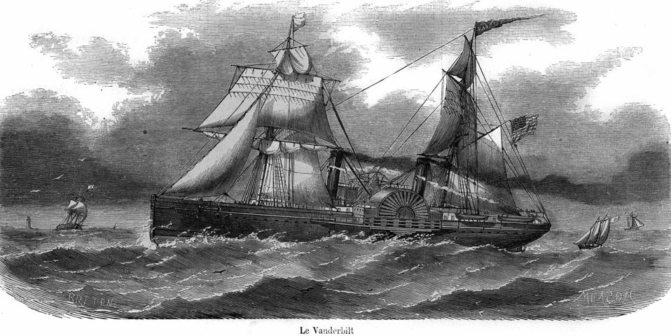 The American steamer ″Vanderbilt″, which is the name of the shipowner, crossing New York-Le Havre from 1857.