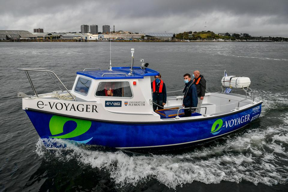 Europe is leading the electric vessel adoption.  Seen here, a 12 person electric ferry in Cornwall, England.