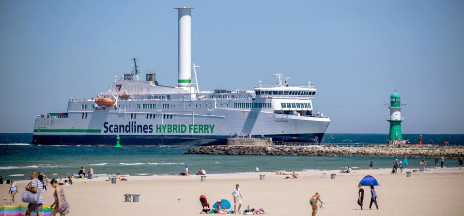 15 June 2020, a hybrid ferry in Denmark sailing with a new rotor sail. This is one of several big innovations that may start to influence global shipping in the next few years.