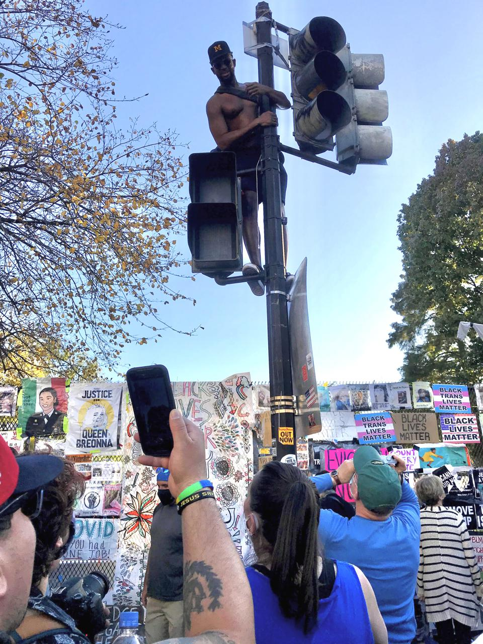 Meka celebrating in Washington, D.C. after Joe Biden had been declared winner of the election.