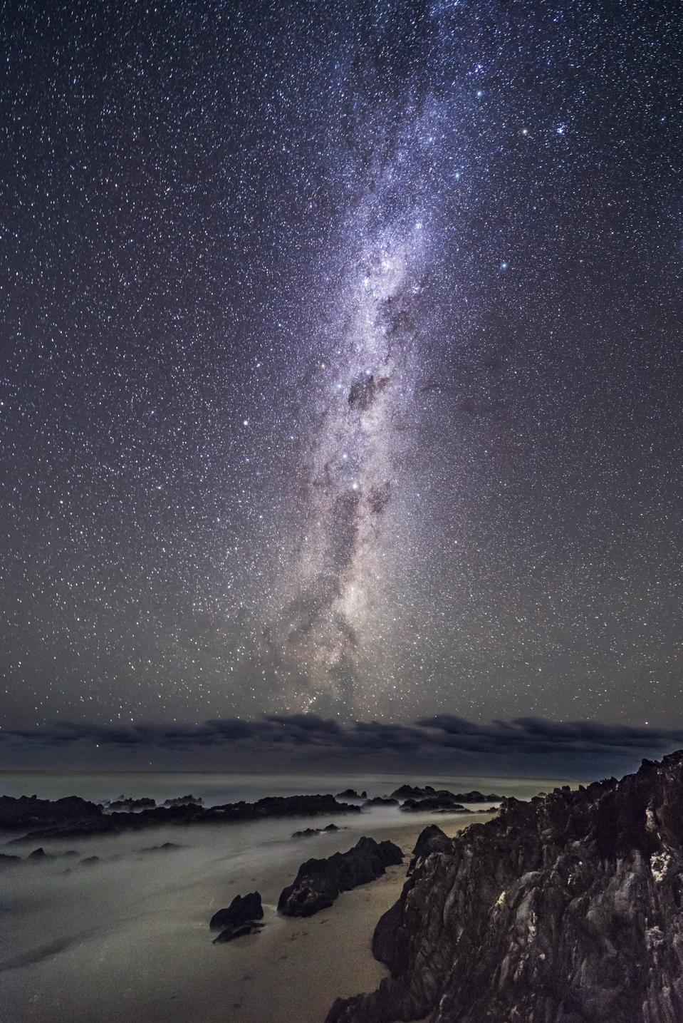 The Dark Emu of aboriginal sky lore rising out of the Tasman Sea.