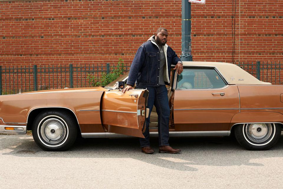Frye Tyler Lace Up Boot in cognac worn by NY Giants' Andrew Thomas