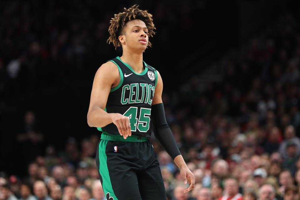 Romeo Langford at Boston Celtics v Portland Trail Blazers