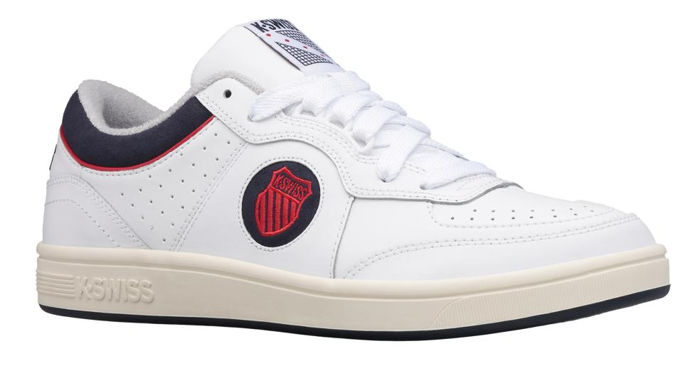 A padded collar underlay and medial piping add pops of color to the stark exterior, while the mesh tongue, woven tongue label, and terry cloth interior anchor its ode to tennis heritage. The North Court sits atop a clean, heritage inspired rubber cupsole for all day comfort in any setting.