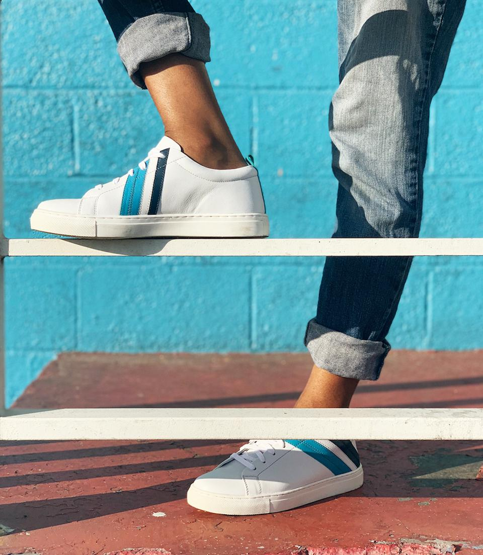 The Seychelles x One Love Stand Out Sneaker is designed in One Love's signature blue colors. For every pair sold, $5 will be donated to the One Love Foundation.