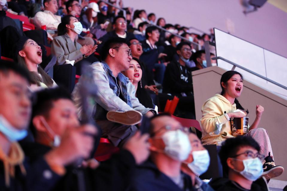 Fans follow the 2020 League Of Legends World Championship Final.
