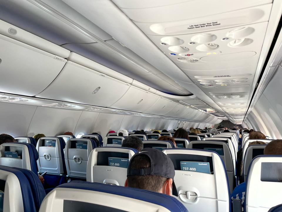 Southwest Airlines best domestic airline clean 737 cabin view