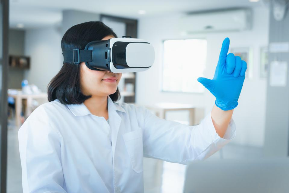 Doctor Wearing Virtual Reality At Hospital