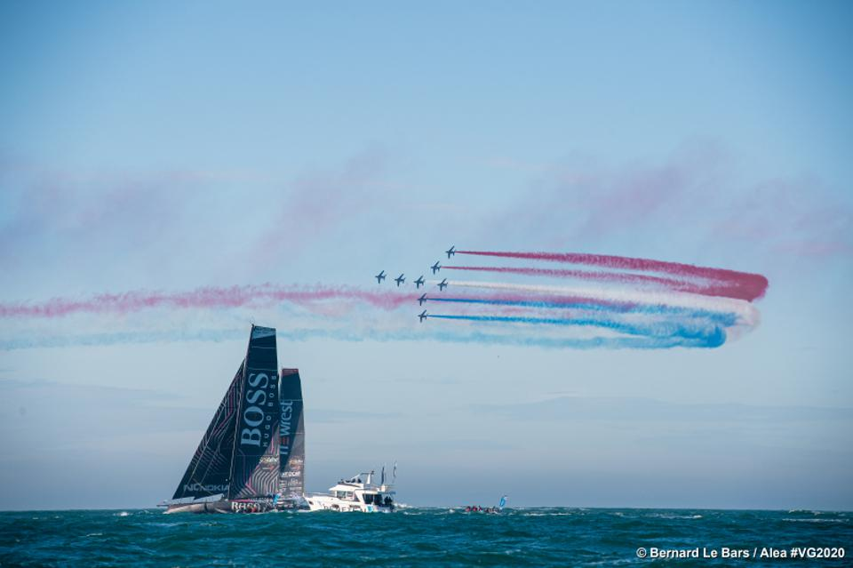Military formation flies over launch of 2020 Vendée Globe