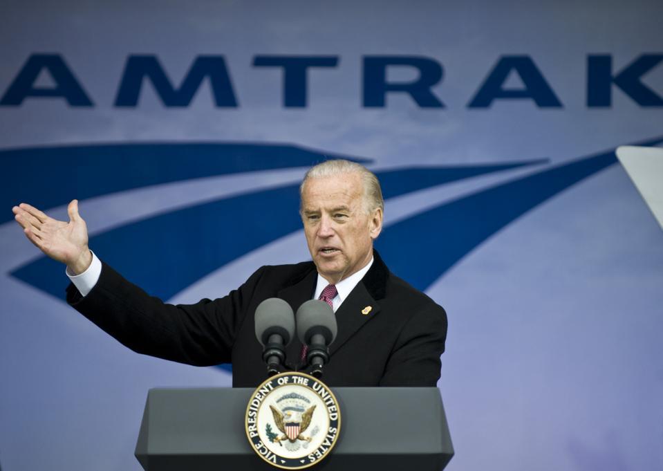 Joe Biden as V.P. announcing new funding for Amtrak