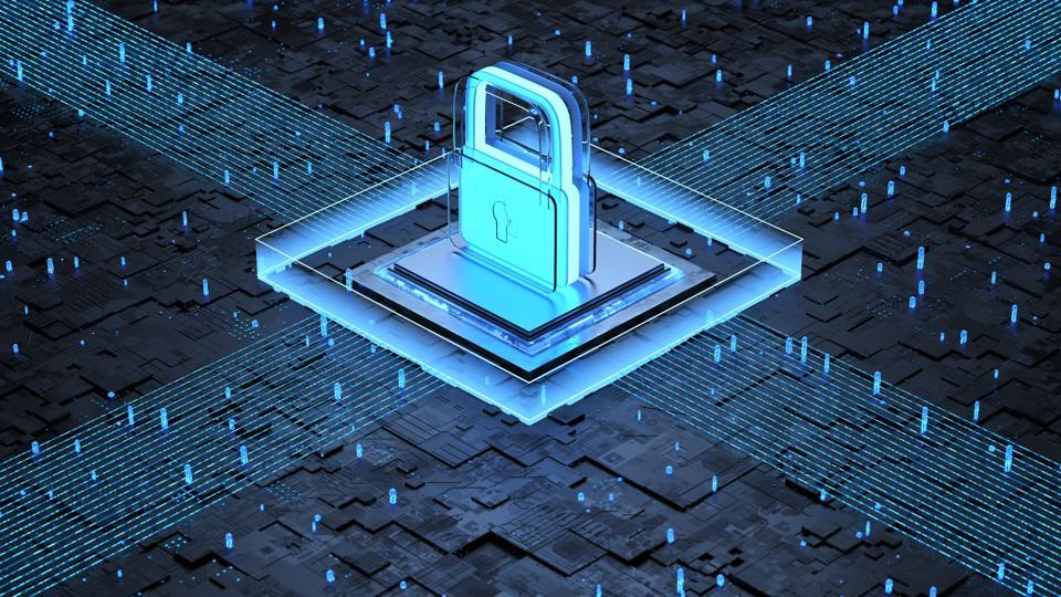 藍色網絡上的鎖和晶片