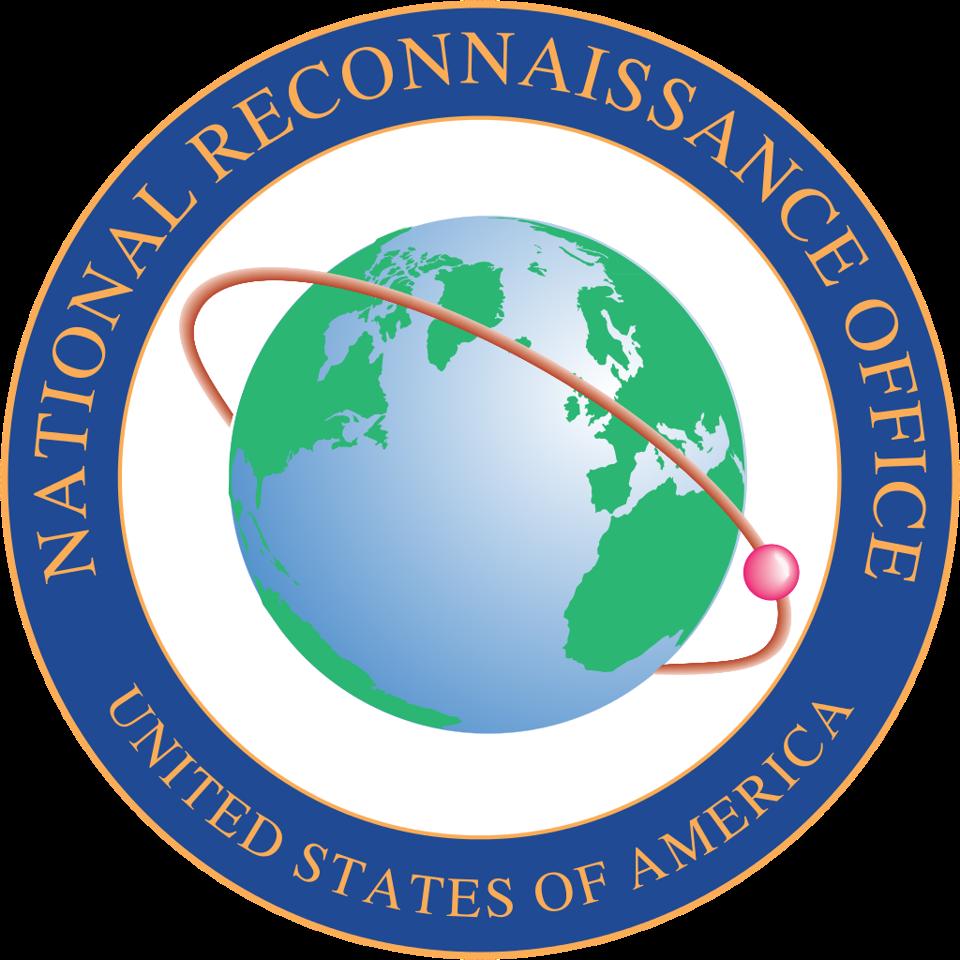 NRO logo with transparent background, satellite circling the globe