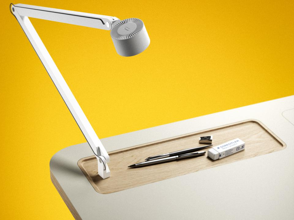 Corner of LastDesk with Wästberg Task Lamp made from recyclable plastic