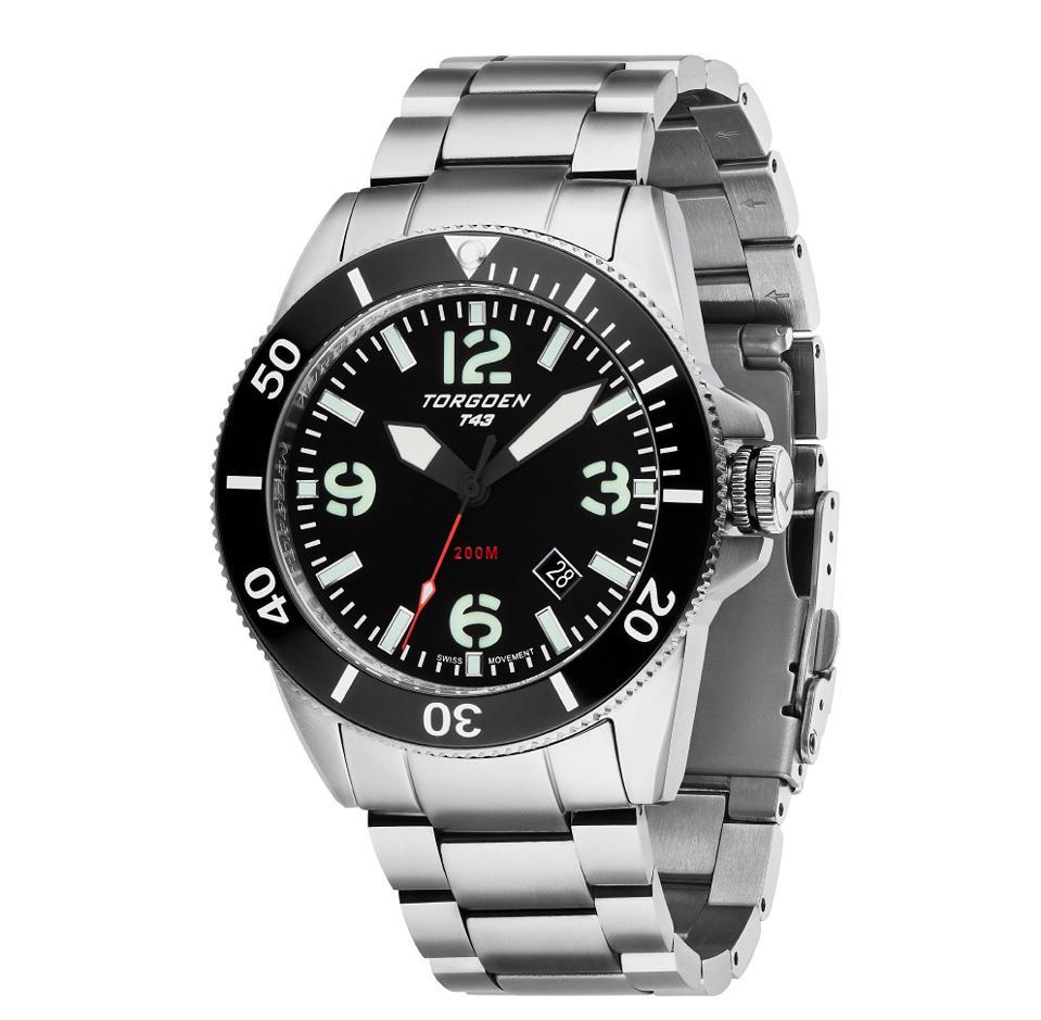 Torgoen's T43 Black Diver Sapphire Watch