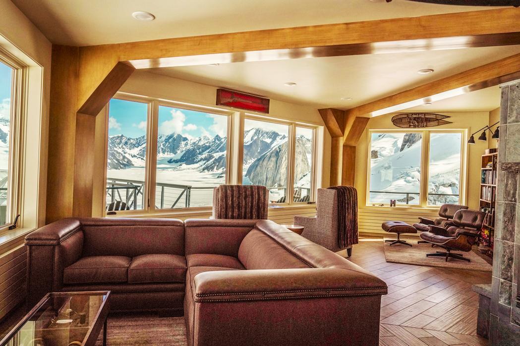 The hexagonal luxury hut offers stunning views of Denali, day and night.