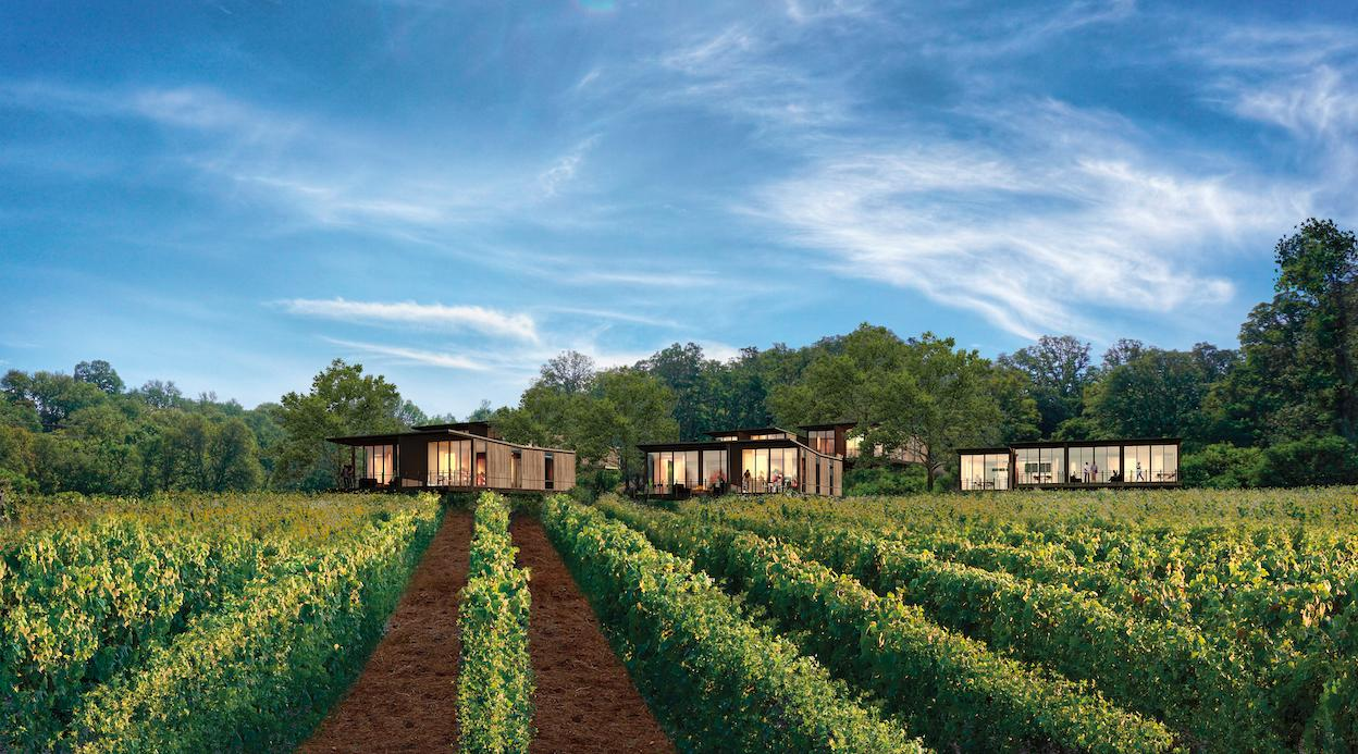 An exterior shot of the Guest Rooms set in the heart of the vineyard, so that you can really immerse yourself in wine country.