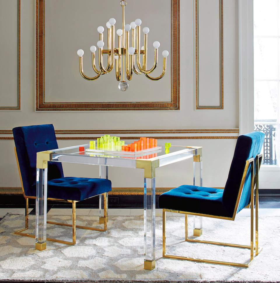 A custom game room accented with Jonathan Adler's signature style.