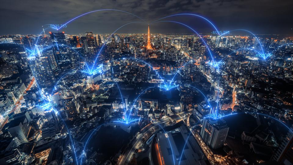 Tokyo city skyline with network connections line.Internet of Things And smart city concept,Technology-Futuristic concept