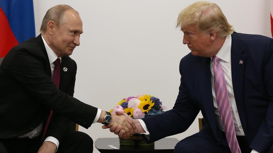 Russian President Vladimir Putin attends the G20 Osaka Summit 2019