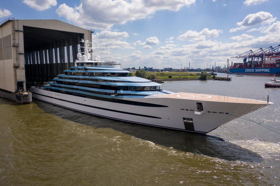Newly refit Kaos emerges from the the Lurssen shipyard.