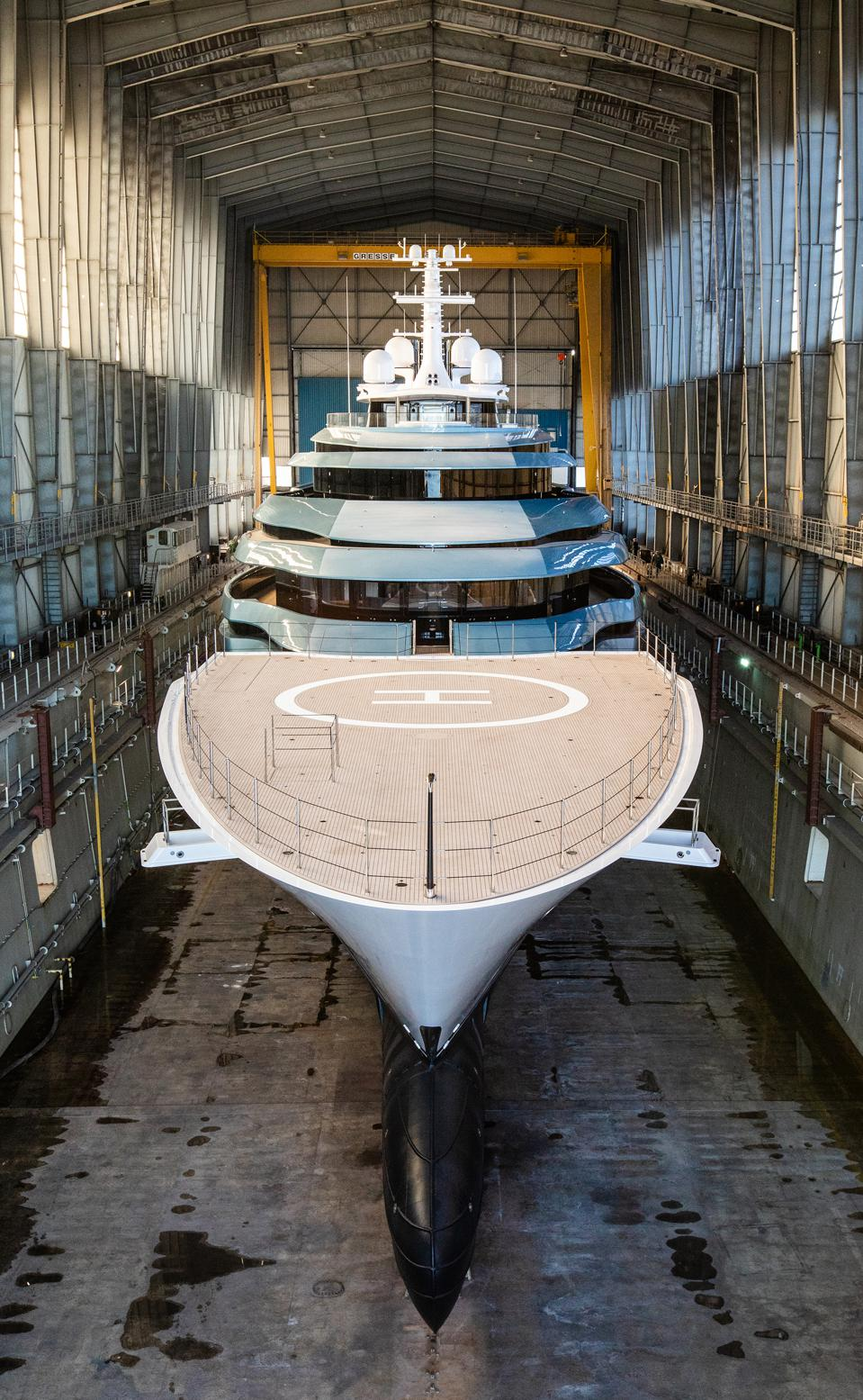 Kaos just before she was launched from the dry dock at the Lurssen shipyard in Germany