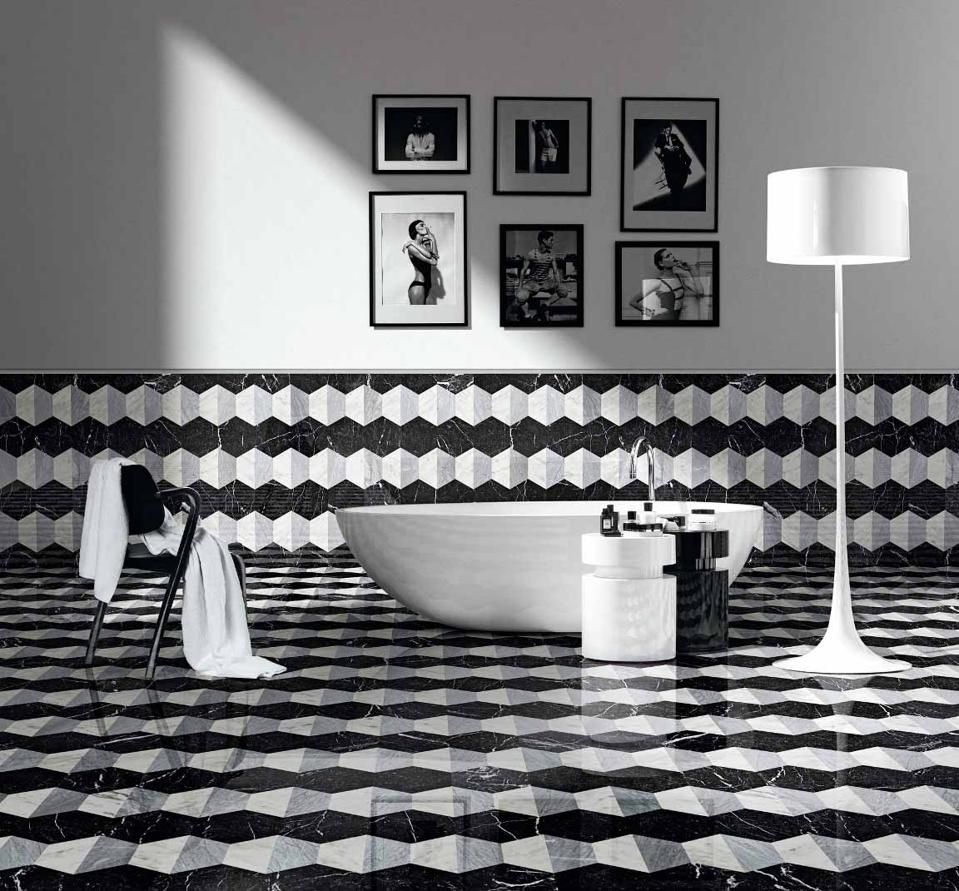 Italian marble tiling in black, white and shades of gray.