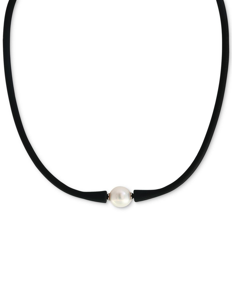 EFFY Cultured Freshwater Pearl (11mm) Black Silicone 14″ Choker Necklace