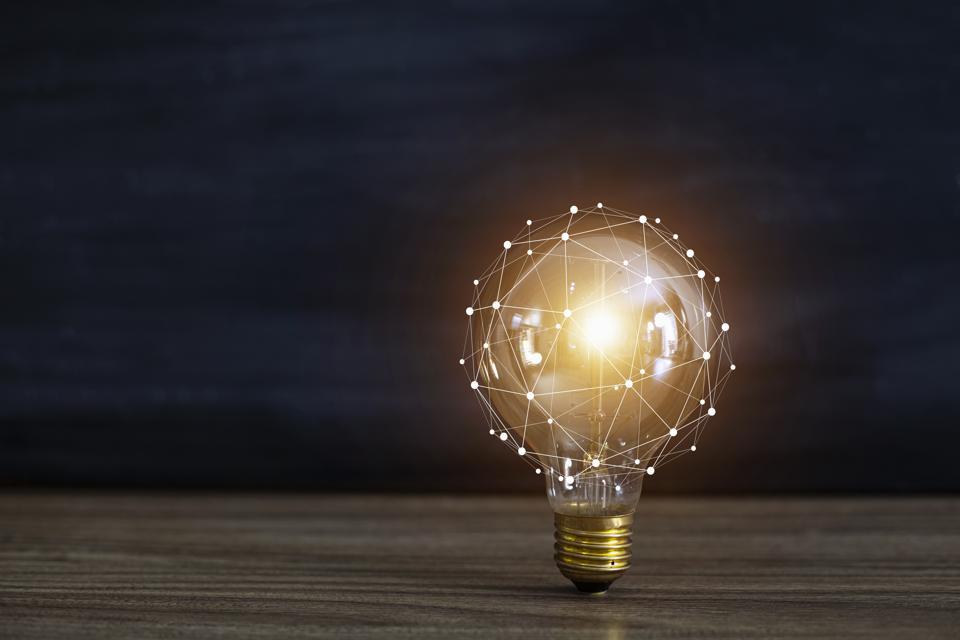 light bulbs concept,ideas of new ideas with innovative technology and creativity