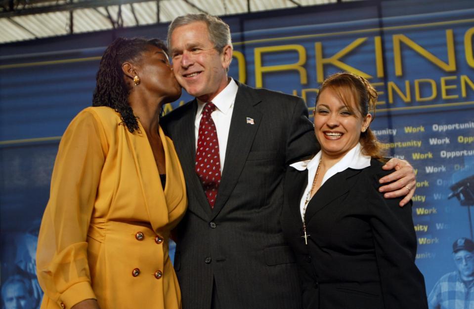 President George Bush Receiving Kiss