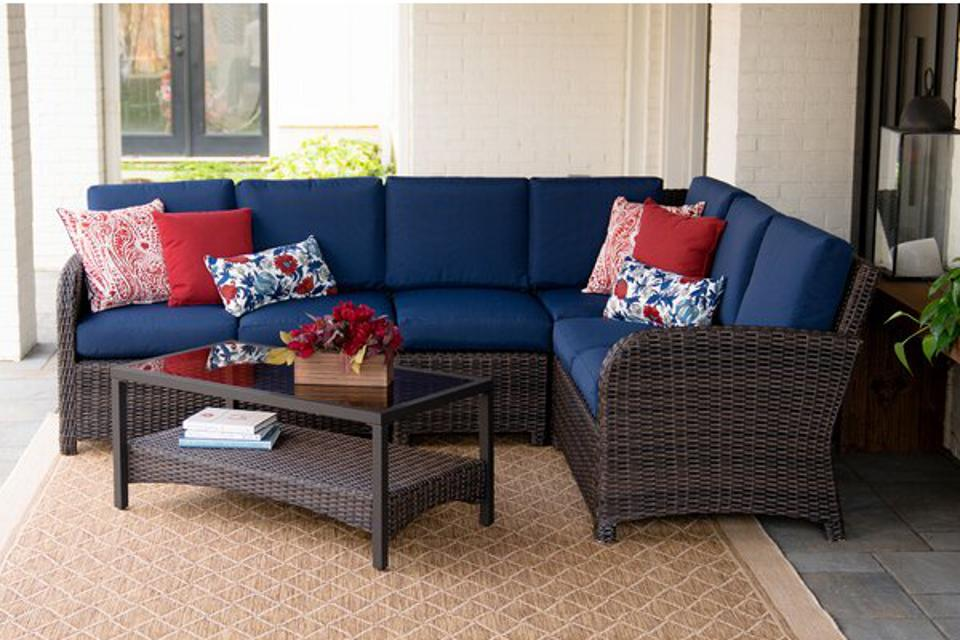 Keyser 5 Piece Wicker Sectional Seating Group with Sunbrella Cushions