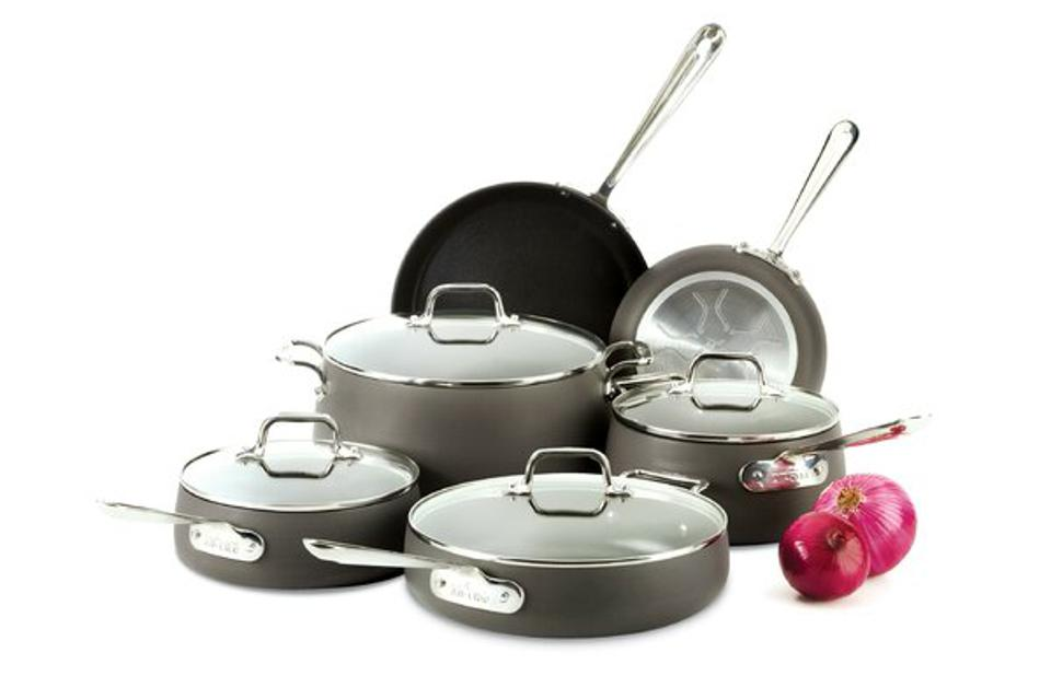 All-Clad Ha1 10 Piece Hard-Anodized Aluminum Non Stick Cookware Set