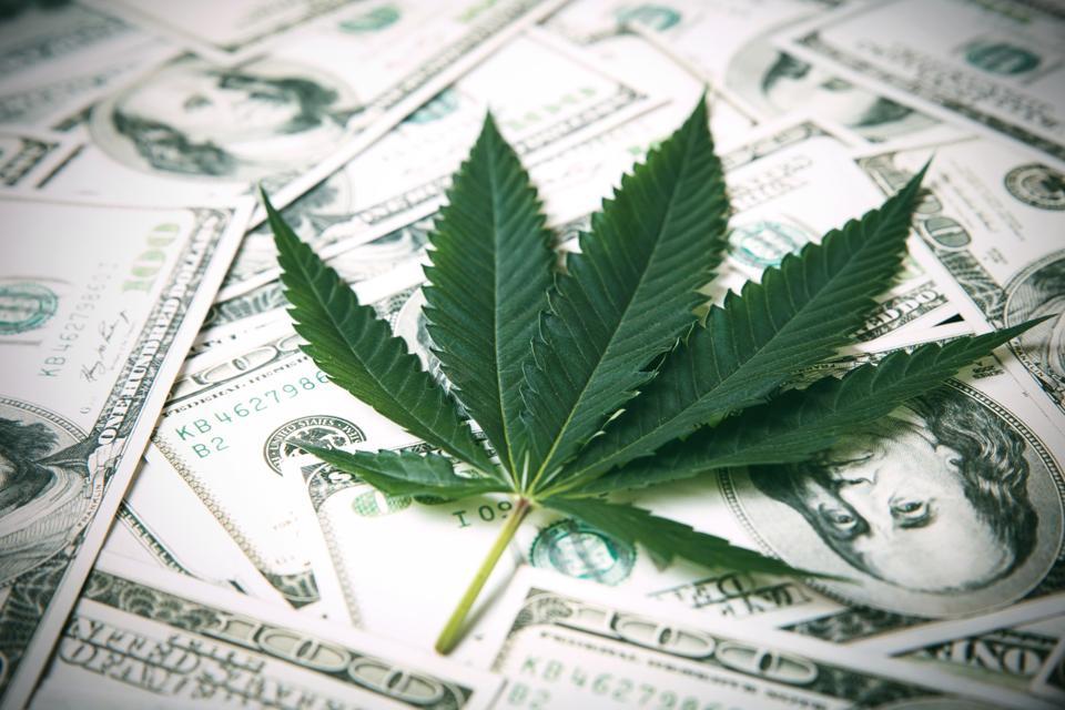 Marijuana Leaf and US Dollar Banknotes. Marijuana business concept. CBD Medical Marijuana Dollar THC Cannabis.